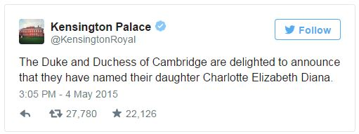 Kensington Palace name tweet