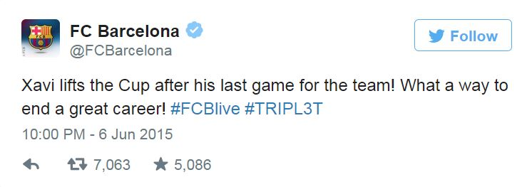 Barcelona FC final tweet on Xavi @FCBarcelona