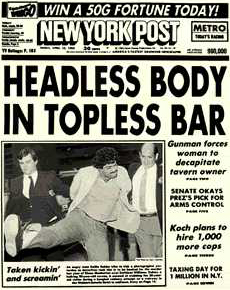 Headless body in a topless bar headline - NY Post