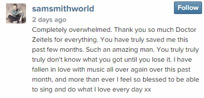 Sam Smith Instagram message