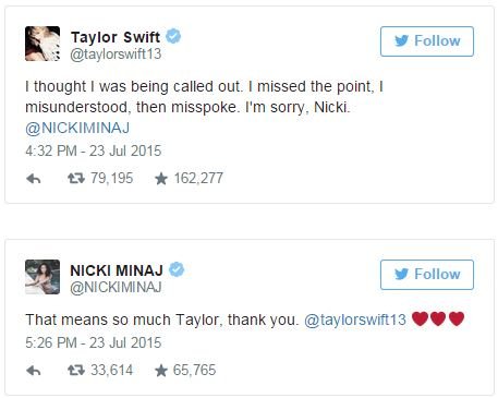 Taylor Swift and Nicki Minaj Tweets