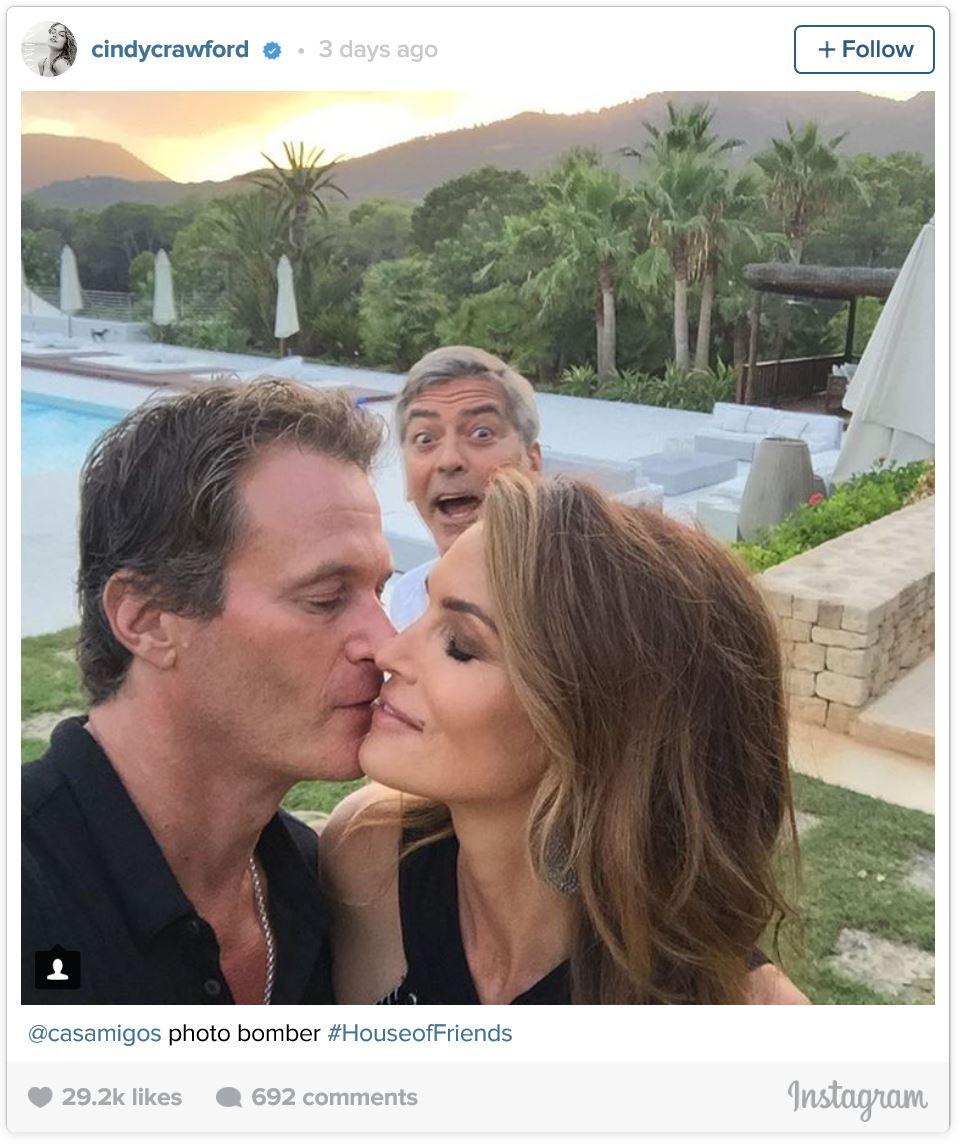 Cindy Crawford Instagram with George Clooney