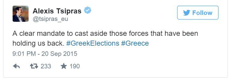 Alexis Tsipras winning tweet