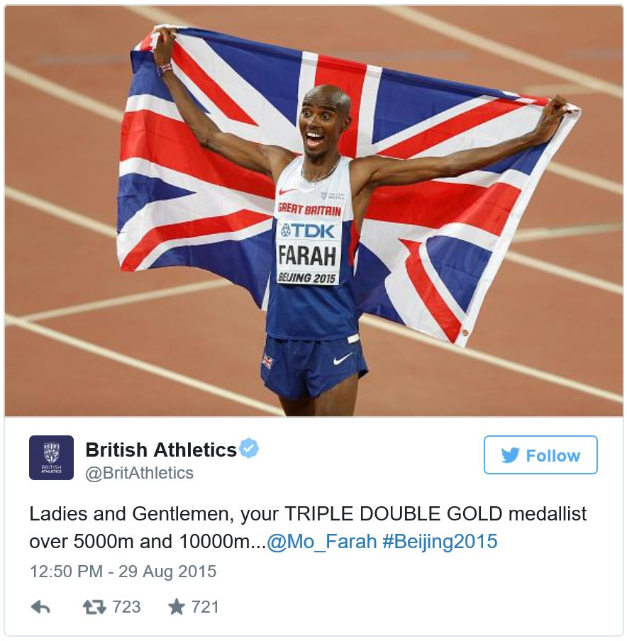 British Athletics tweet - Mo Farrah