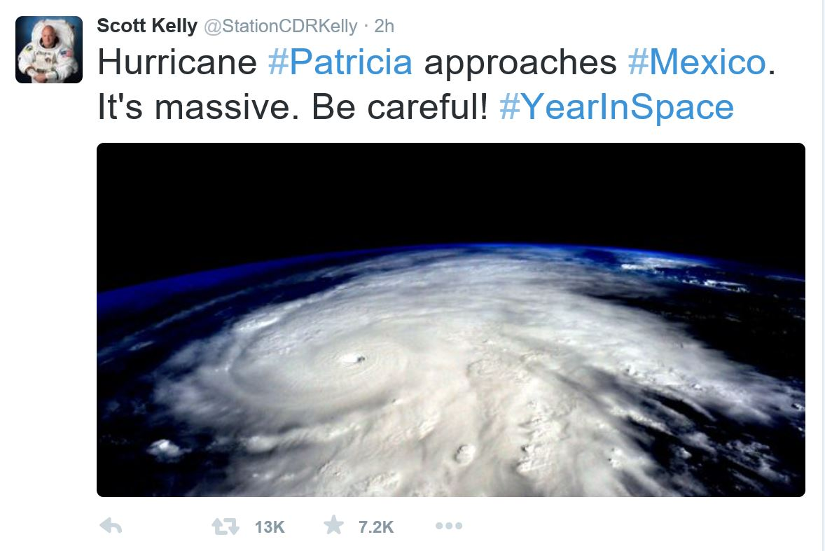 Scott Kelly image Hurricane Patricia from Space Station
