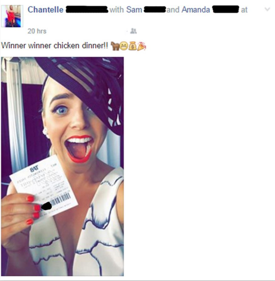 Chantelle winning ticket Facebook post