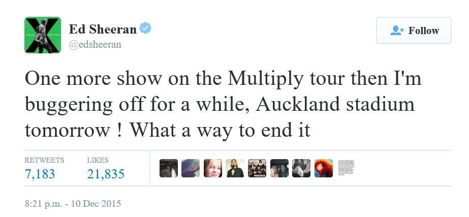 Ed Sheeran Tweet