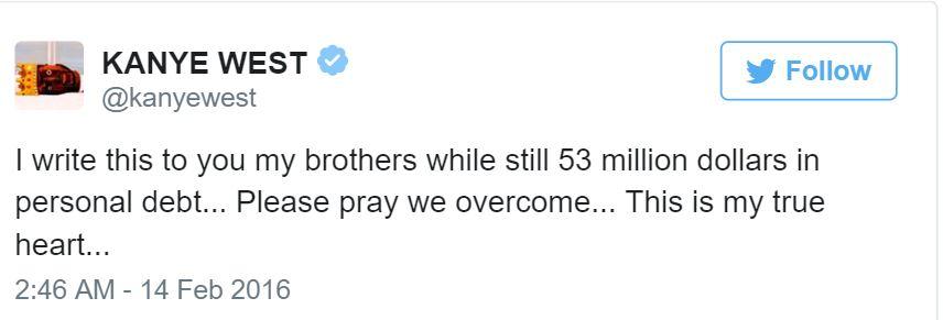 Kanye West begging tweet 1