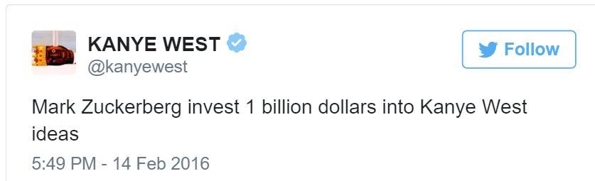 Kanye West begging tweet